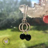 Black Onyx Silver Hoop Drop Earrings
